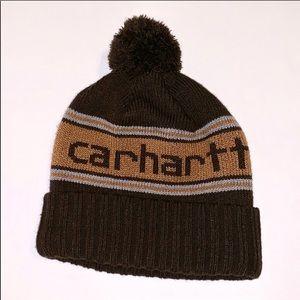 Carhartt brown stripe winter pom hat NEW